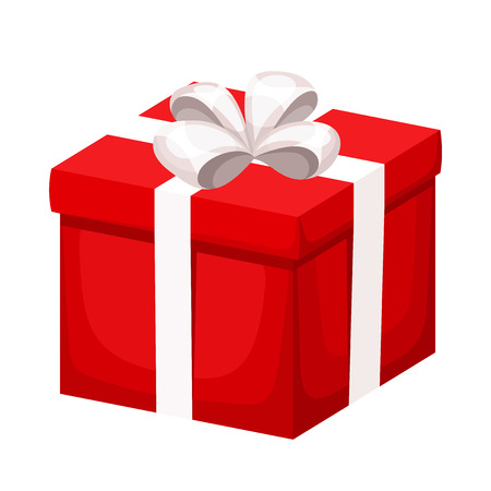 red gift box: Red gift box with white ribbon and bow. Vector illustration. Illustration