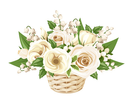 White roses, lisianthuses and lily of the valley in basket. Vector illustration.