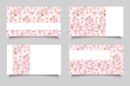 corporative: Business cards with pink flowers. Vector illustration.