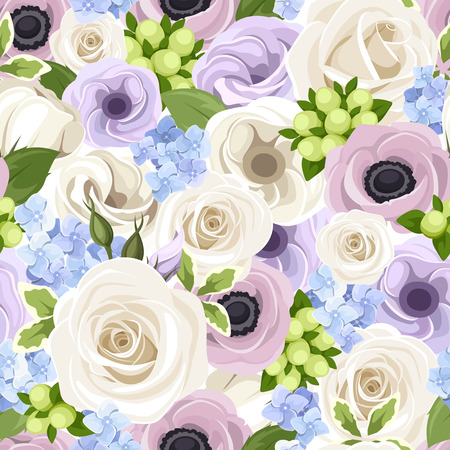 Vector seamless pattern with white roses, purple lisianthuses and anemones and blue hydrangea. Vector
