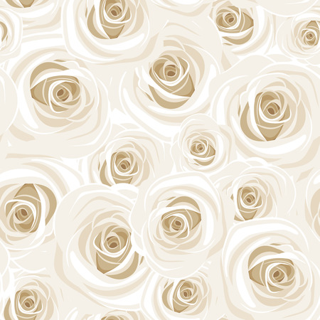Seamless pattern with white roses. Vector illustration. Illustration