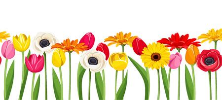 hilera: De fondo sin fisuras horizontales con flores de colores ilustraci�n.