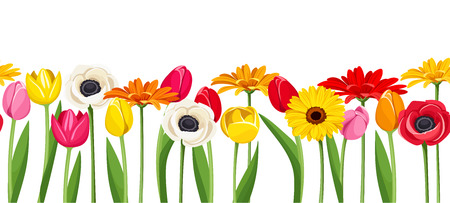 repetition row: Horizontal seamless background with colorful flowers illustration.