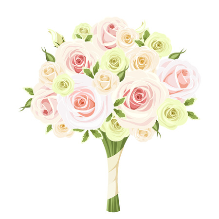 Wedding bouquet of pink, white and green roses. Vector illustration. Vettoriali