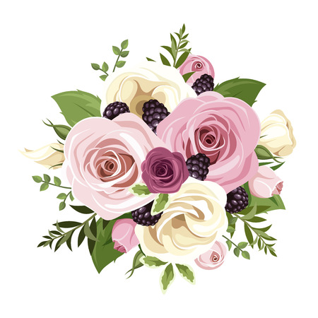 Pink and white roses and lisianthus flowers. Vector illustration. Illustration