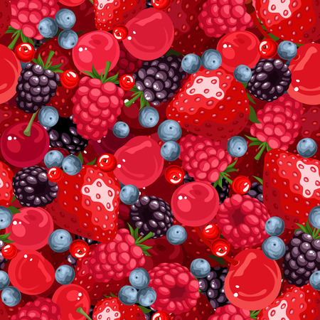 Seamless background with various berries. Vector illustration.