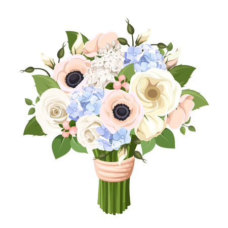 Bouquet of roses, lisianthus, anemones and hydrangea flowers. Vector illustration. Çizim