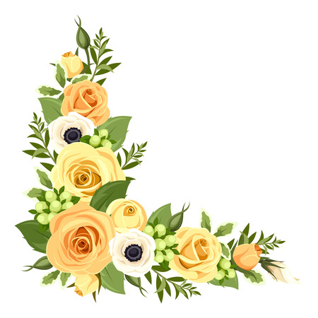 floral arrangement: Corner with yellow roses. Vector illustration.