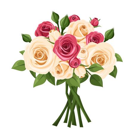 Boeket van rode en witte rozen. Vector illustratie.