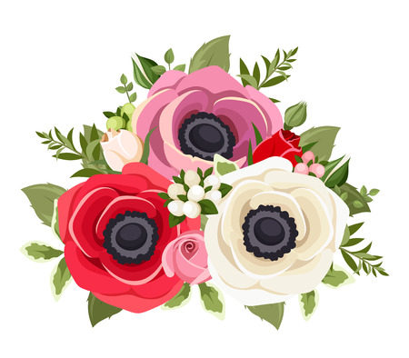 rosebud: Bouquet of colorful anemone flowers. Vector illustration. Illustration