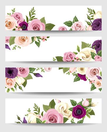 rosas naranjas: Banderas del vector con las rosas de colores, lisianthus y flores de la anémona. Vectores
