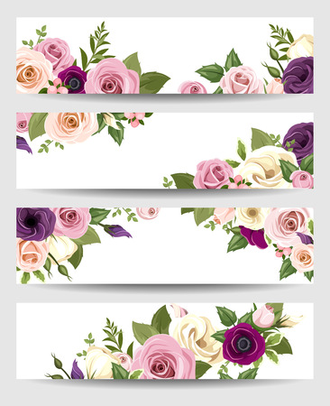 green and purple: Vector banners with colorful roses, lisianthus and anemone flowers. Illustration