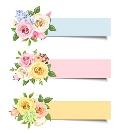 Vector banners met kleurrijke rozen en lisianthus bloemen.