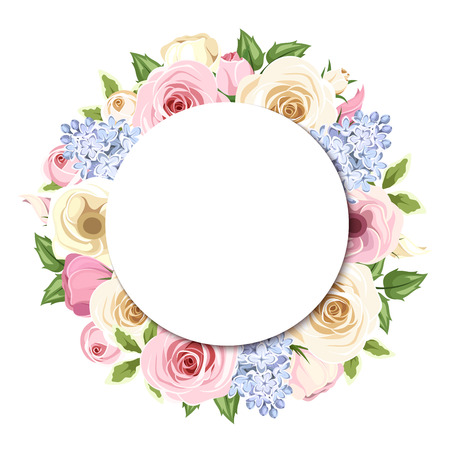 Background with pink, white and blue roses, lisianthus and lilac flowers. Vector eps-10.