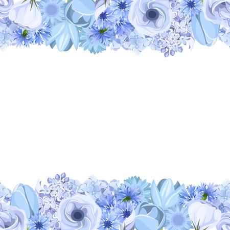青い花と水平のシームレスな背景。ベクトルの図。