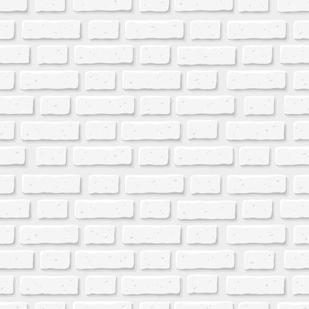 Biały mur z cegły. Wektor bez szwu tekstury.