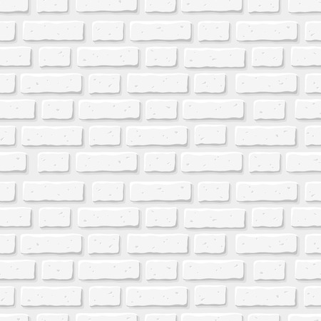 grey backgrounds: White brick wall. Vector seamless texture. Illustration