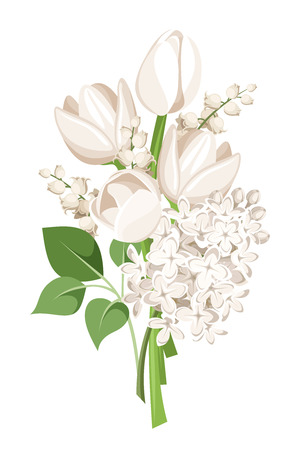 ivory: Bouquet of white tulips, lilac flowers and lily of the valley. Vector illustration.