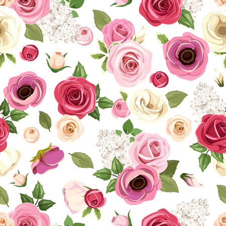 flower petal: Seamless pattern with colorful roses, lisianthus and anemone flowers. Vector illustration.