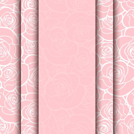 rose silhouette: Vector pink card with roses pattern. Eps-10.