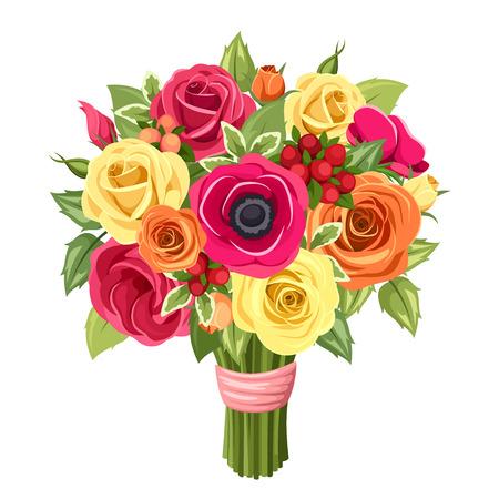 rosas naranjas: Ramo de rosas de colores, lisianthus y anémonas flores. Ilustración del vector.