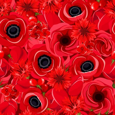 様々 な赤い花でシームレスな背景は。ベクトルの図。  イラスト・ベクター素材