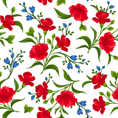 Seamless pattern with red and blue flowers. Vector illustration. Ilustração