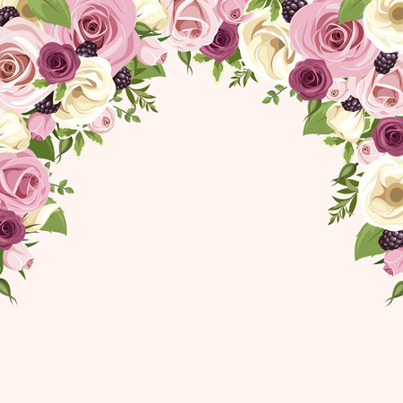 Background with pink and white roses and lisianthus flowers. Vector illustration. Vettoriali