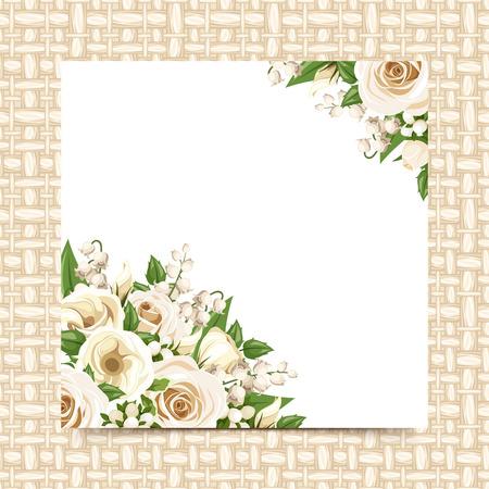 枝編み細工品の背景に白い花を持つカードです。ベクトル eps-10。