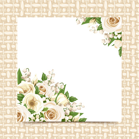 Card with white flowers on a wicker background. Vector eps-10.