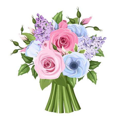 Boeket van roze, blauw en paars rozen, lisianthus en lila bloemen. Vector illustratie.