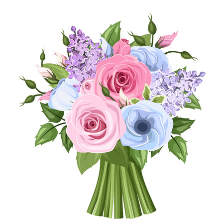 Bouquet of pink, blue and purple roses, lisianthus and lilac flowers. Vector illustration.