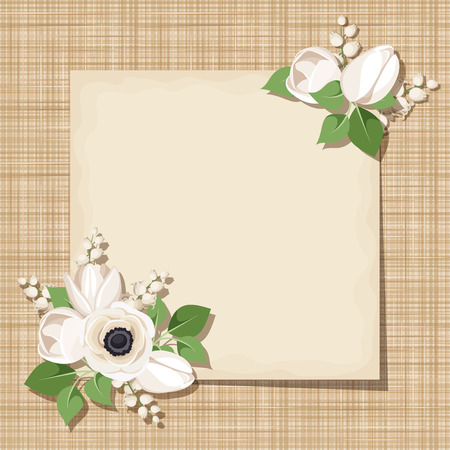 sacking: Vector card with white flowers on a sacking background. Eps-10.