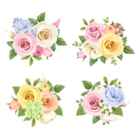 arrangement: Set of bouquets of colorful roses and lisianthus flowers. Vector illustration.
