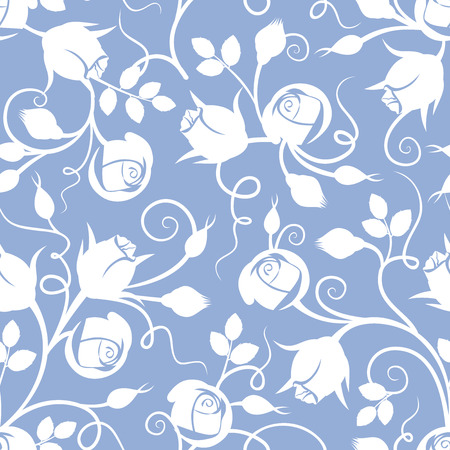 White seamless floral pattern with rose buds on blue. Vector illustration. Vector