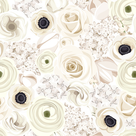 Seamless background with various white flowers. Vector illustration. Illustration
