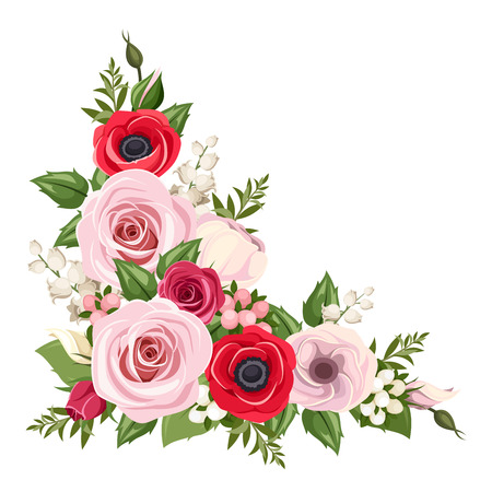 anemone flower: Red and pink roses, lisianthus and anemone flowers and lily of the valley. Vector corner background.
