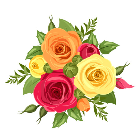 Bouquet of red, orange and yellow flowers. Vector illustration.