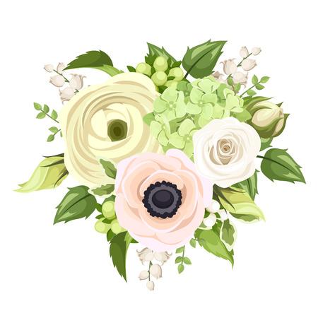 Boeket met roos, anemoon, ranonkel, lelie van de vallei en hortensia bloemen. Vector illustratie.