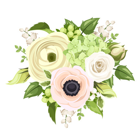Bouquet with rose, anemone, ranunculus, lily of the valley and hydrangea flowers. Vector illustration.