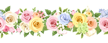 Horizontal seamless background with colorful roses and lisianthus flowers. Vector illustration. Ilustração