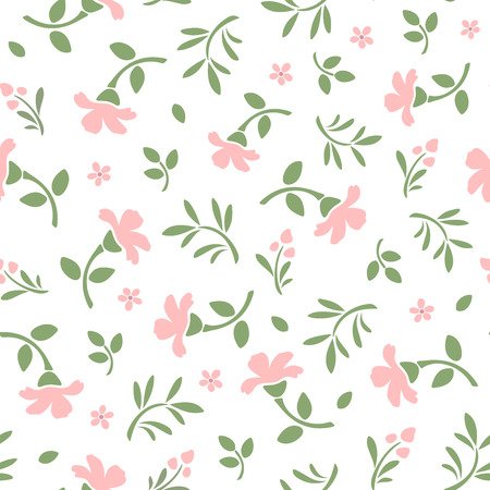 Seamless pattern with pink flowers and green leaves. Vector illustration. Reklamní fotografie - 38761540