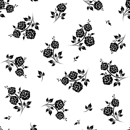 Seamless black and white floral pattern. Vector illustration.
