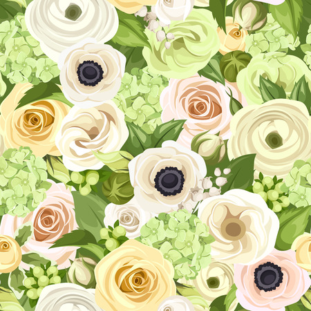 Seamless background with white, yellow and green flowers and leaves. Vector illustration. Vector