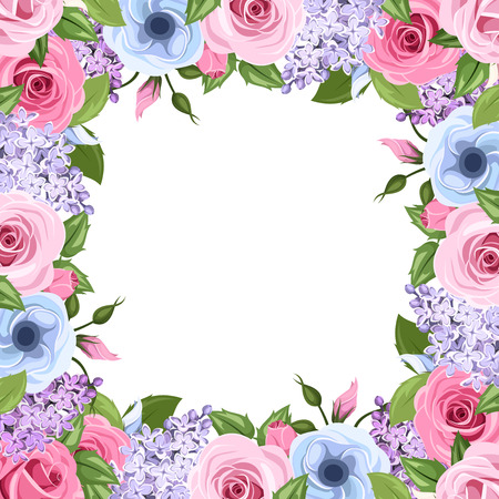 Frame with pink, blue and purple roses, lisianthus and lilac flowers. Vector illustration. Ilustração