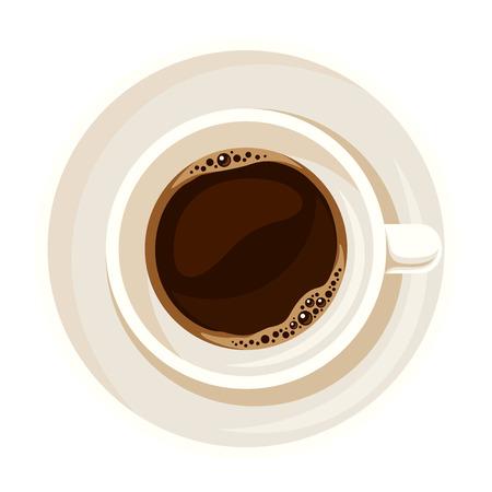 Witte porseleinen kopje thee of koffie die op een witte achtergrond. Bovenaanzicht.