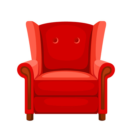 Vector red armchair isolated on a white background. Çizim
