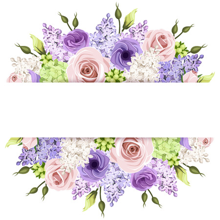 flowers horizontal: Background with pink, purple and white roses and lilac flowers. Vector eps-10.