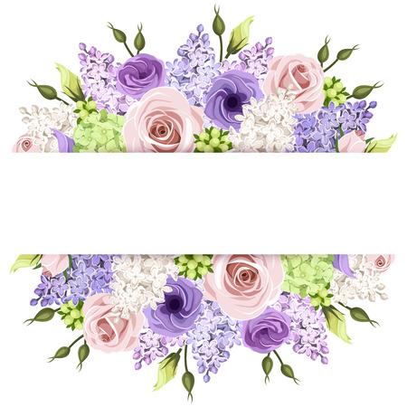 morado: Fondo con rosas de color rosa, morado y blanco y flores de color lila. Eps-10 de vectores.