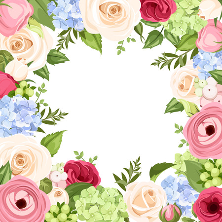 blue roses: Background with colorful flowers. Vector illustration.